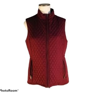 Relativity Quilted Vest Zip Up Outerwear Maroon M